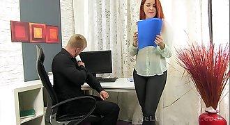 Secretary deep throats the boss hard-on for some cum