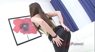 LEGALPORNO FULL SCENE - Brunette Beauty Monalee's DAP Piss Porno