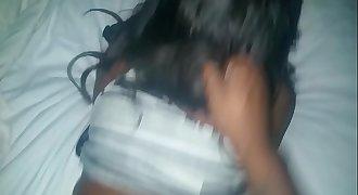 Ebony milf takes creampie
